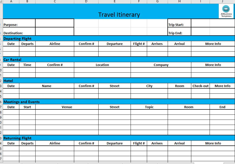 Free Business Travel Itinerary | Templates At Allbusinesstemplates.com