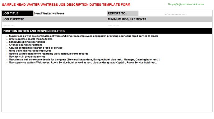 sample waitress resume. waiters job description duties of a ...