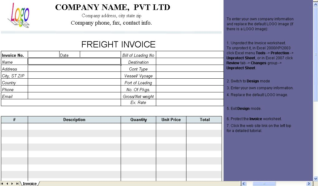 Freight Invoice Template - Uniform Invoice Software