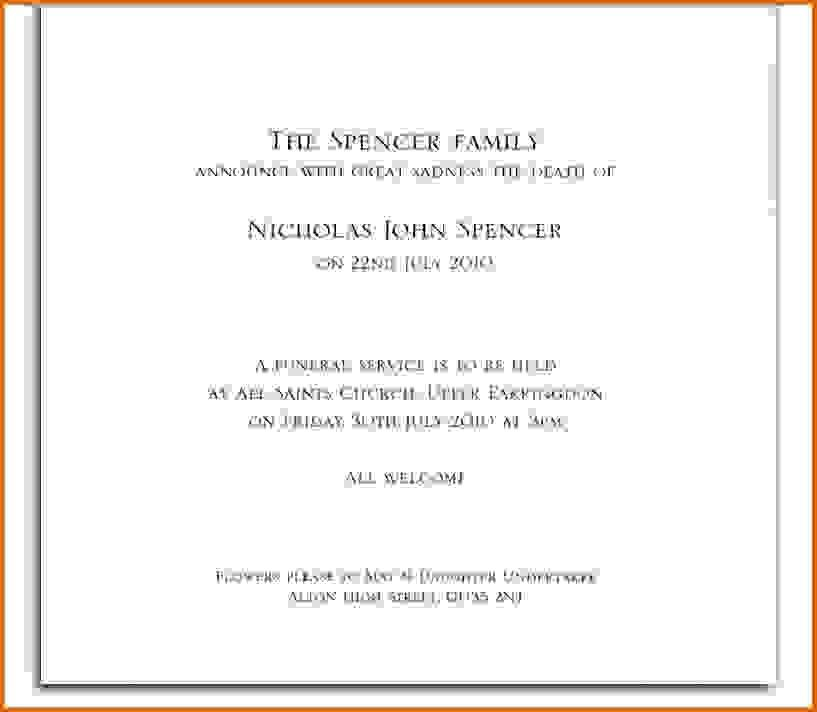 Funeral Announcement Template Free Funeral Invitations – Announcement Template
