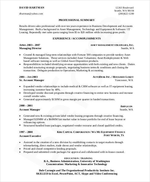 6+ Business Resumes - Free Sample, Example, Format | Free ...