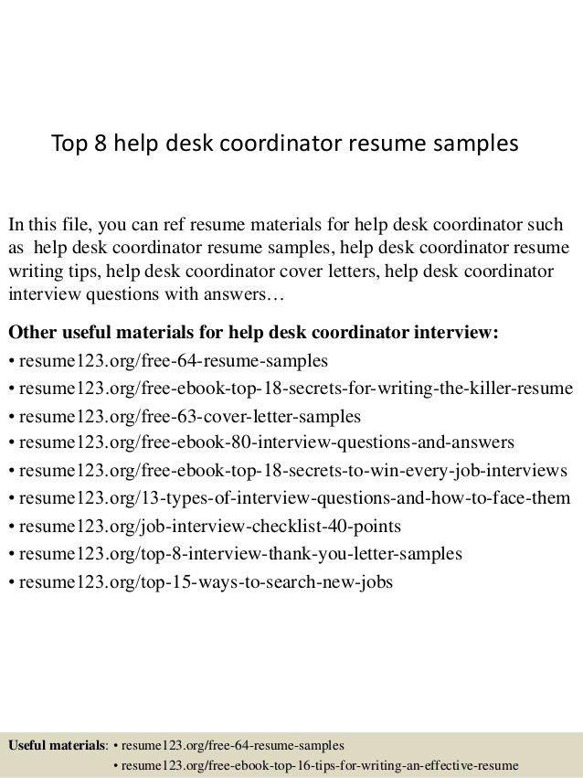 Resume help desk supervisor