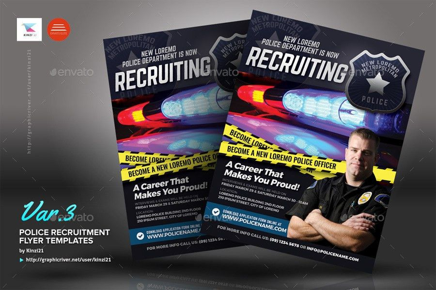 Police Recruitment Flyer Templates by kinzi21 | GraphicRiver