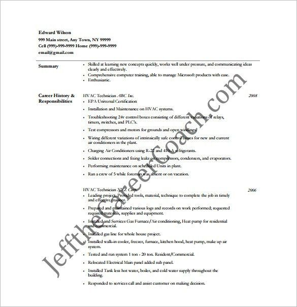 hvac supervisor resume free word downlaod. examples of resumes a ...
