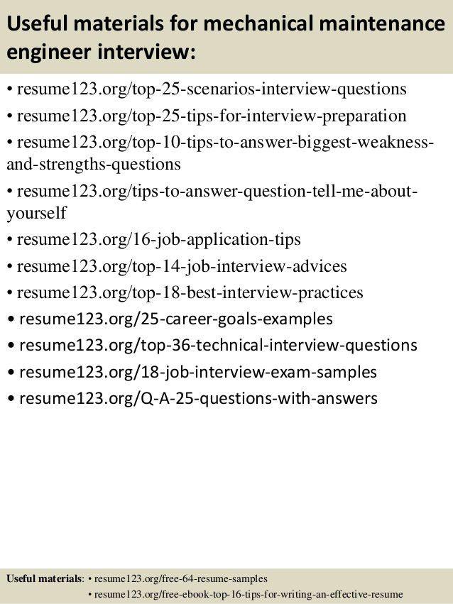 Download Mechanical Maintenance Engineer Sample Resume ...
