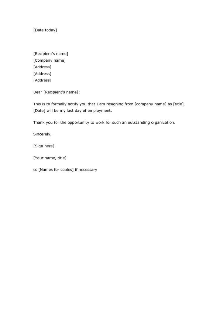 Resignation Letter Template Fill In | Professional resumes sample ...