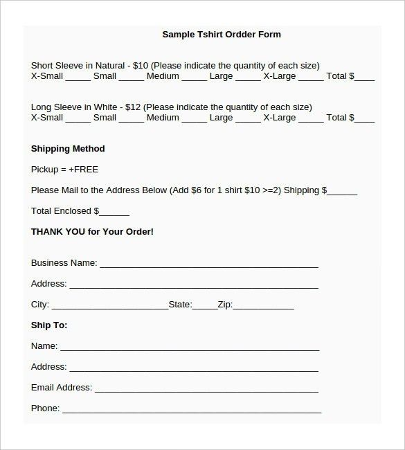 T Shirt Order Form Template Word | Template Design