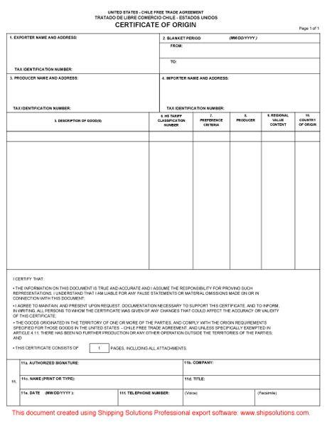 U.S. -Chile Certificate of Origin