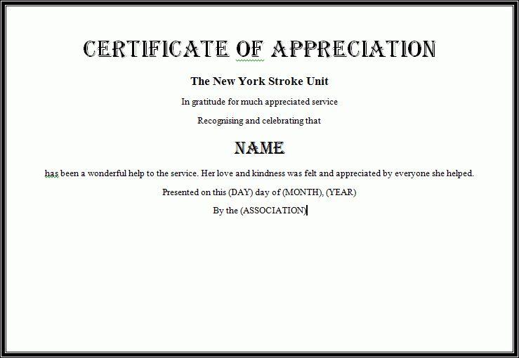 Certificate Of Appreciation Template