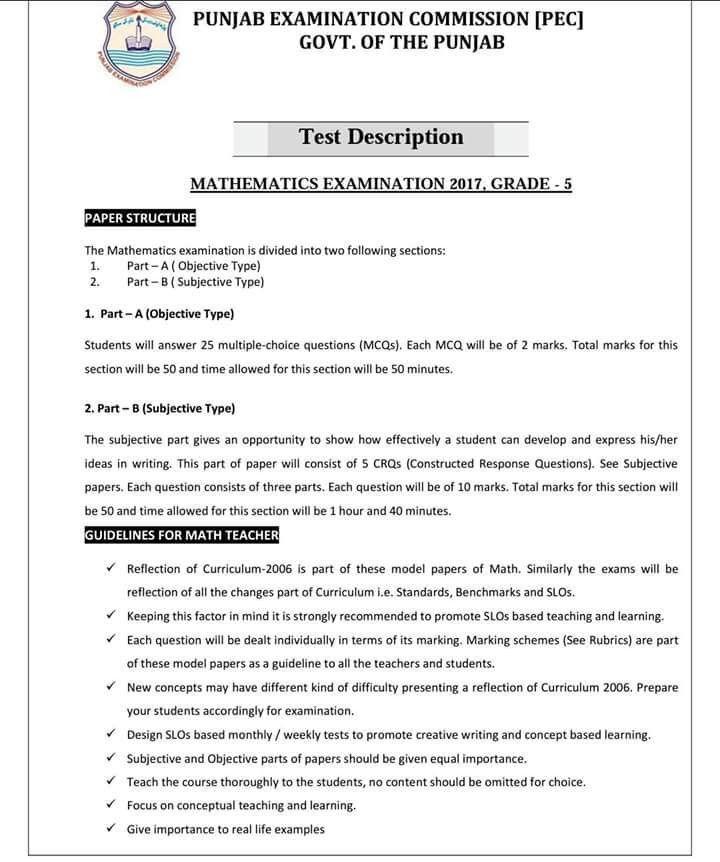 PEC Examination 2017 GRADE-5 & GRADE-8 Test Description – The Info ...