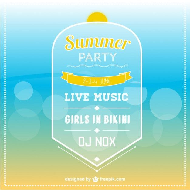 Summer party invitation template Vector | Free Download