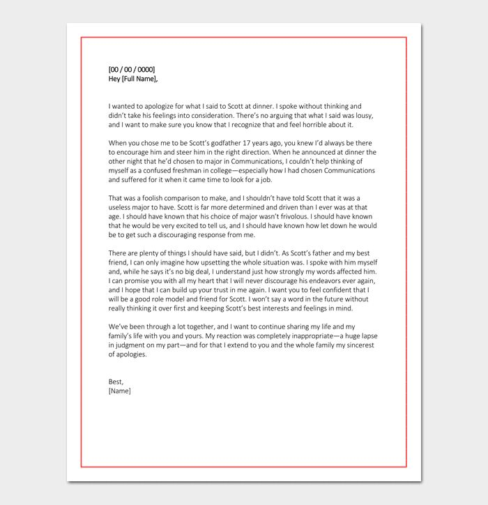 Personal Apology Letter - Useful Samples & Examples