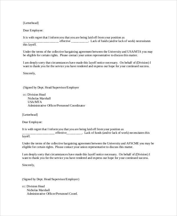 Layoff Notice Template. Employee Voluntary Termination Termination ...