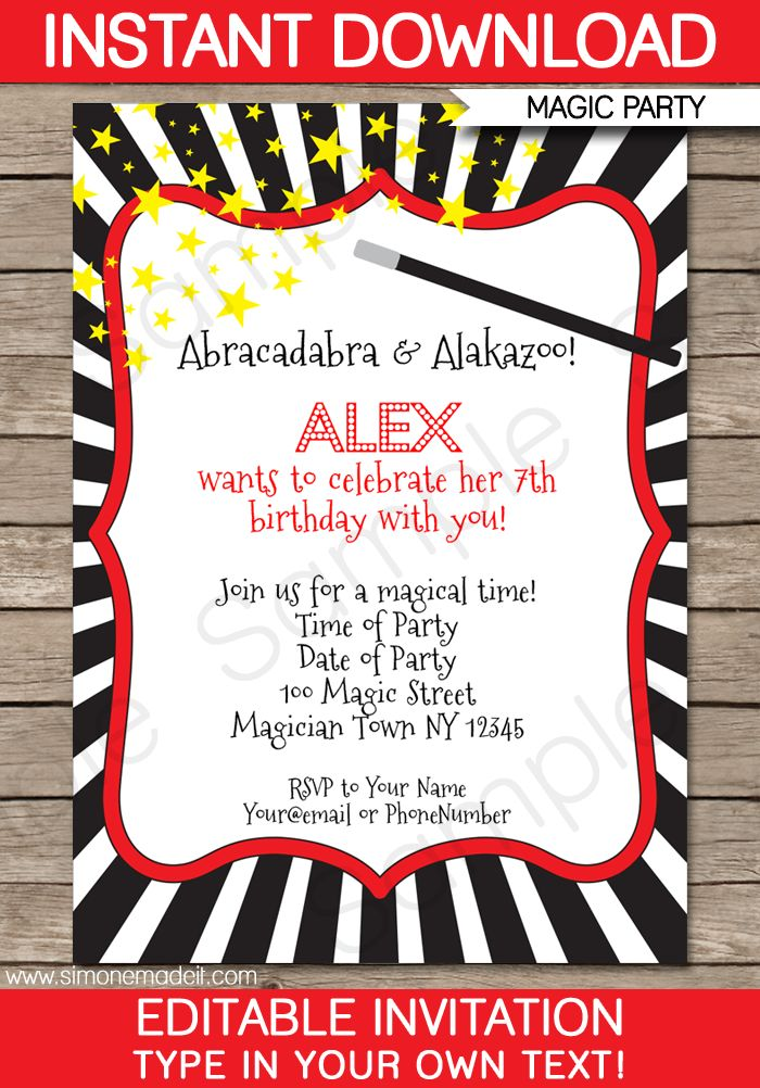 Magic Party Invitations Template | Birthday Party