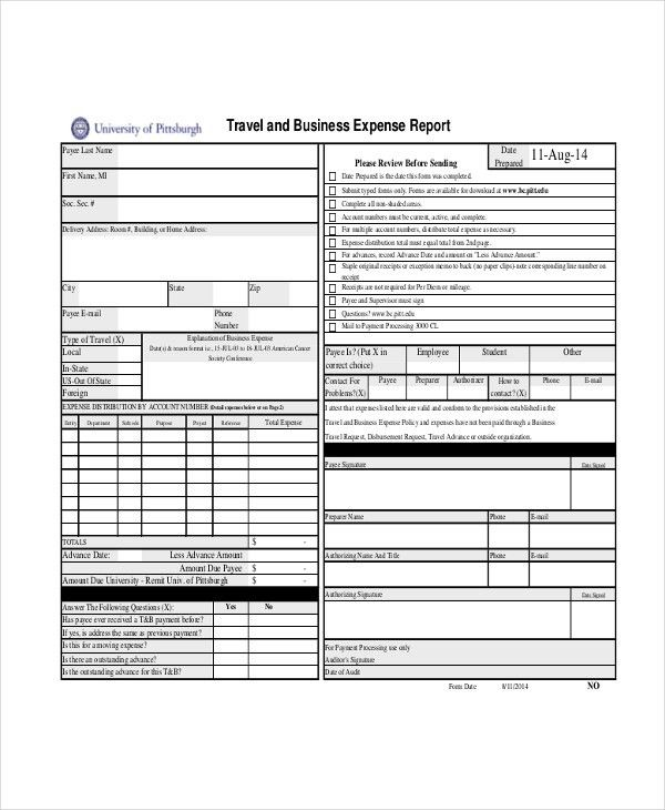 Sample Expense Report Form - 9+ Free Documents in PDF, Xls