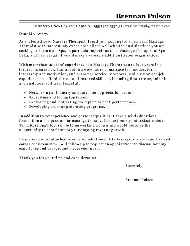 Best Lead Massage Therapist Cover Letter Examples | LiveCareer