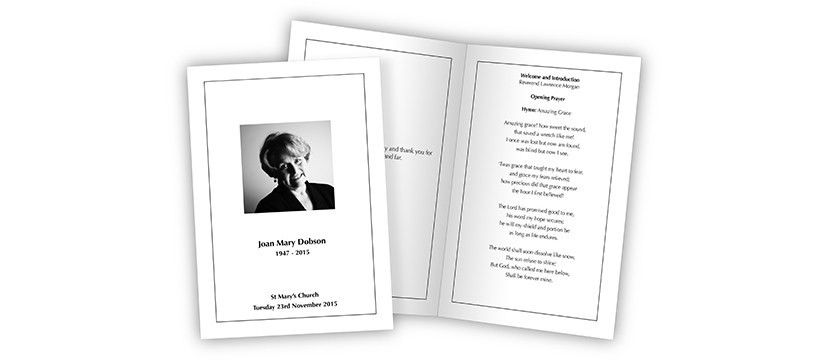 Funeral Service Booklets | professionally designed