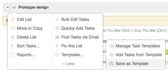 Creating task list templates - Teamwork Projects Helpdocs