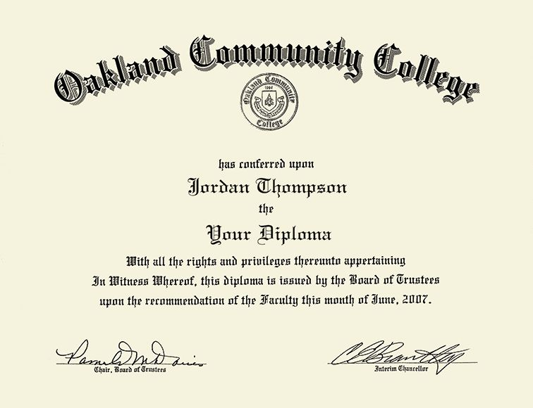 Oakland Community College Silver Embossed Diploma Frame in Arena ...