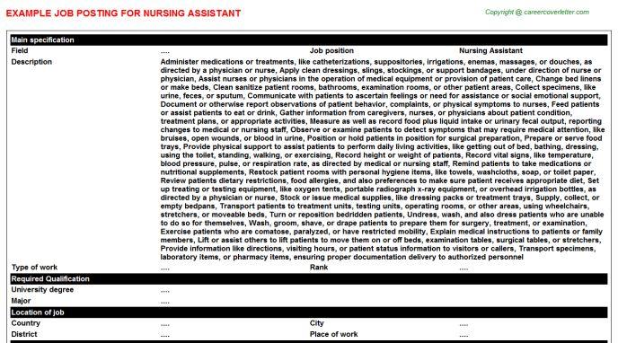 Nursing Assistant Job Title Docs