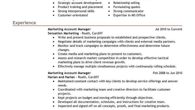marketing account manager resume account manager marketing ...