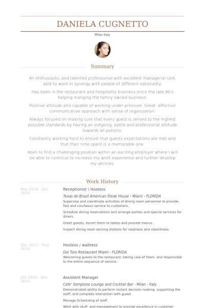 hostess resume sample reservationist skills resume sample resume ...