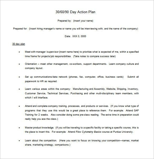 30 60 90 Day Action Plan – 6+ Free Word, Excel, PDF Format ...