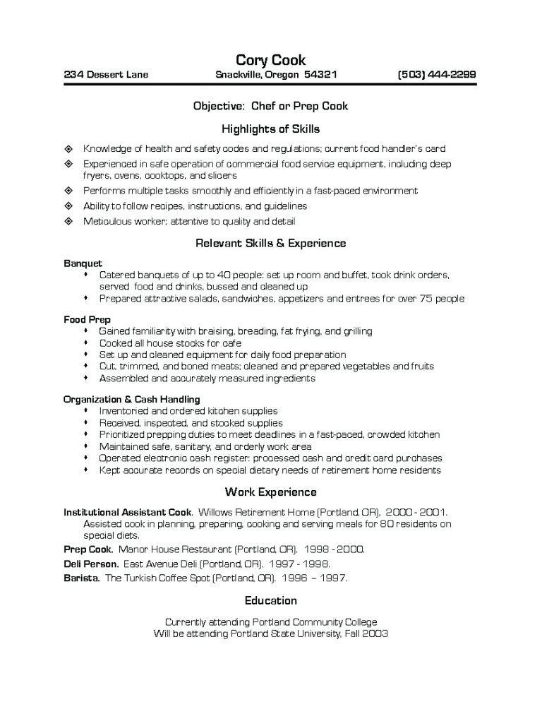 Culinary Resume Skills List - Ecordura.com
