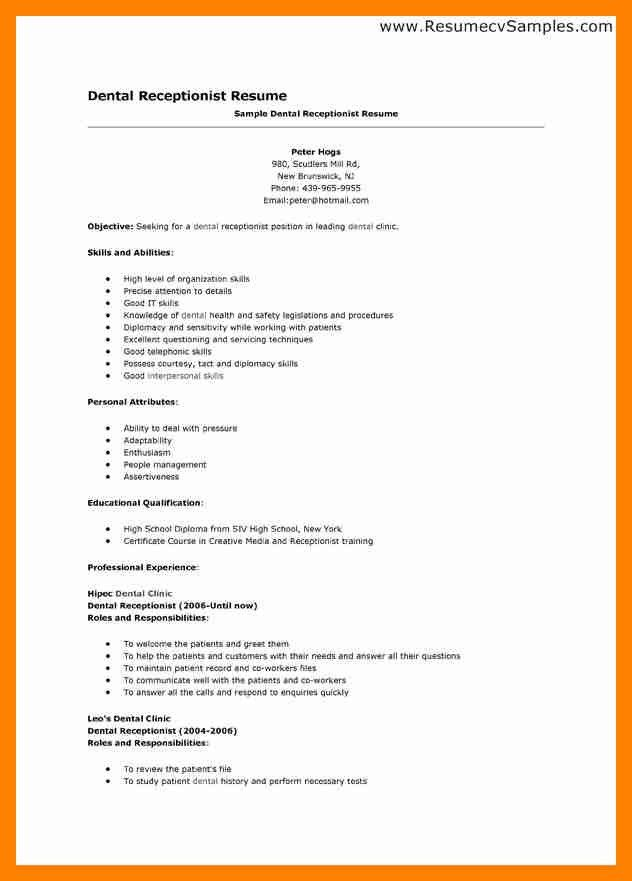 Dental Receptionist Resume Samples. 100 dental resume dentist cv ...