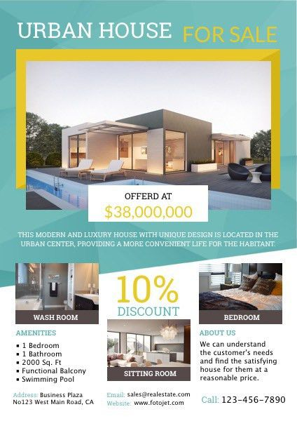 Urban House for Sale Real Estate Flyer Template Template | FotoJet