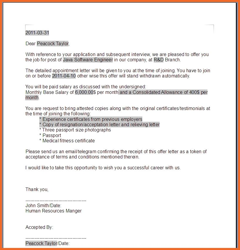 offer letter sample | sop example