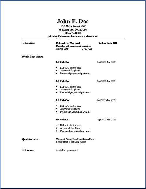 Sample Resume Free Resume Examples Basic Resume Template Student ...