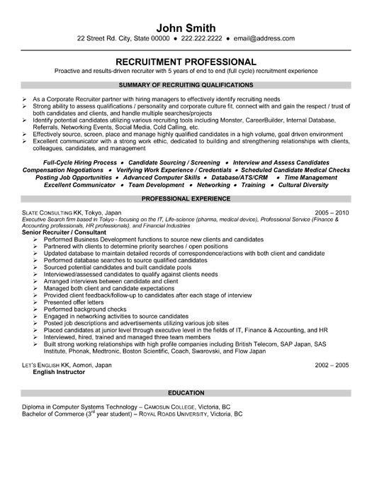 Recruiter Resume Sample | haadyaooverbayresort.com