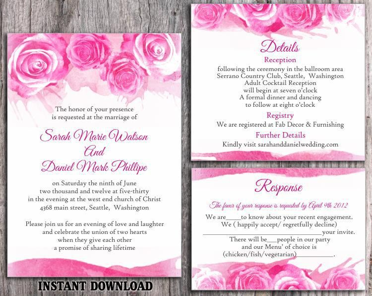DIY Watercolor Wedding Invitation Template Set Editable Word File ...