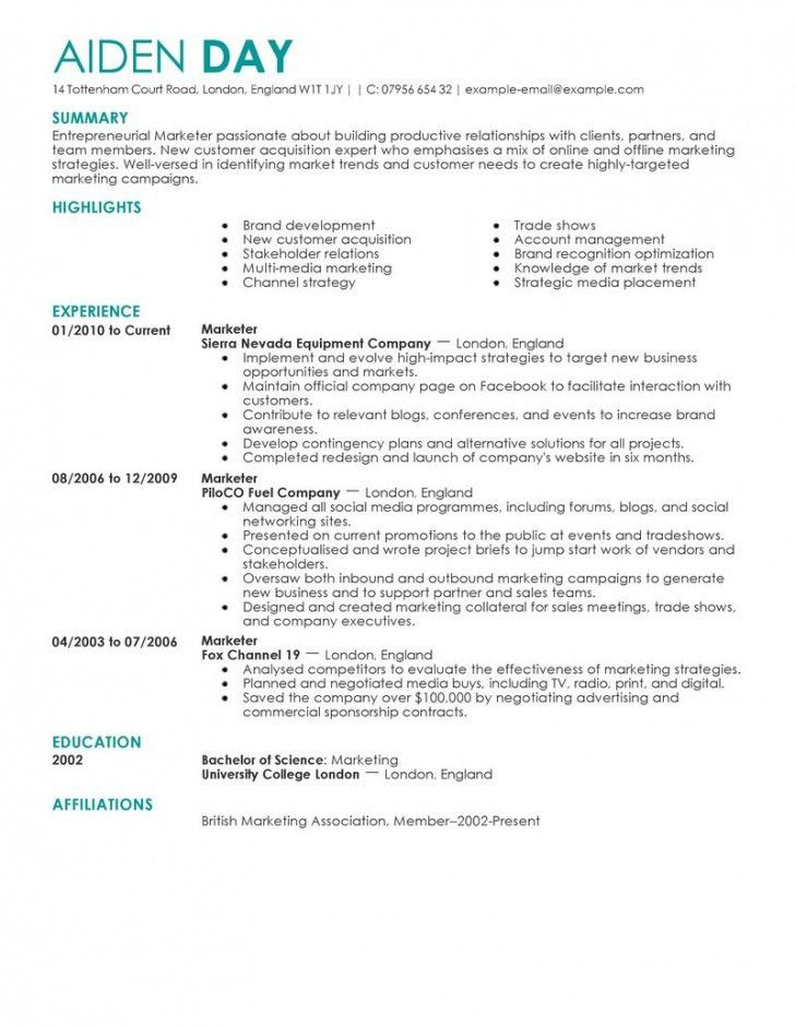Marketing Resume Template. Marketing Manager Resume Sample For ...
