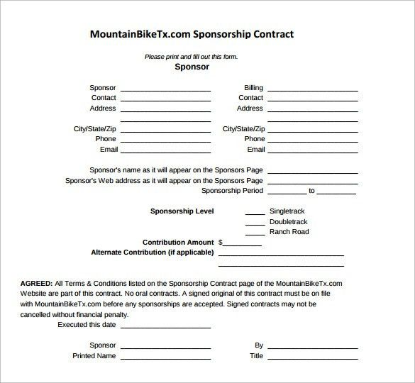 Sample Sponsorship Contract Template - 14+ Free Documents in PDF, Word