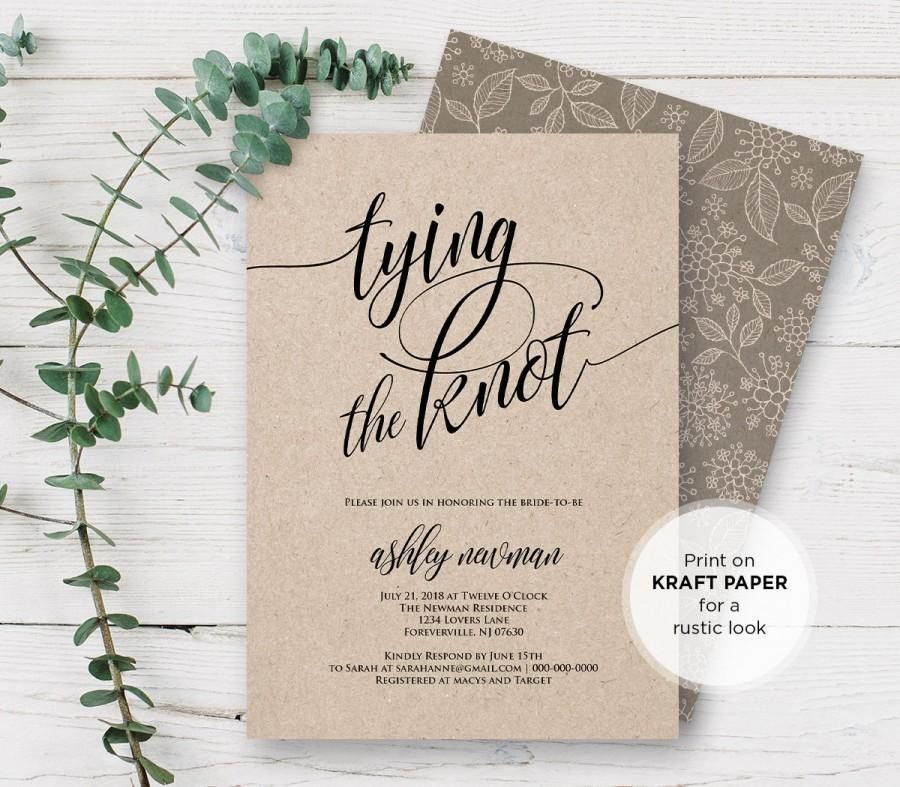 Rustic Bridal Shower Invitation Printable, Tying The Knot Wedding ...