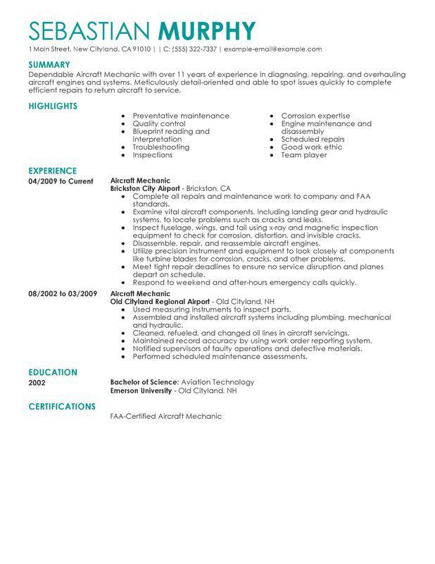Unforgettable Aircraft Mechanic Resume Examples to Stand Out ...