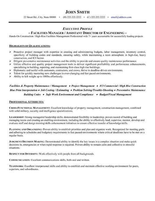 49 best management resume templates samples images on pinterest - Sample Resume For Property Maintenance Manager