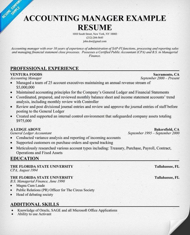 Excellent Idea Accounting Manager Resume 13 Sample Resume For ...