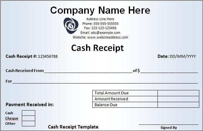 Cash Receipt Template | Free Printable Word Templates,