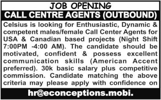 Call Center Agents (Outbound) Required at Celsius Rawalpindi