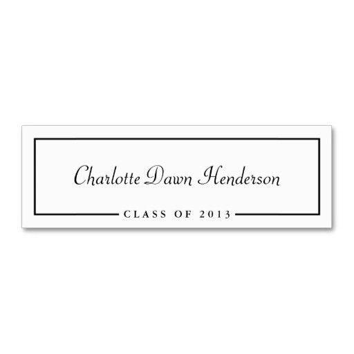 Graduation announcement name card border Class of Business Card ...