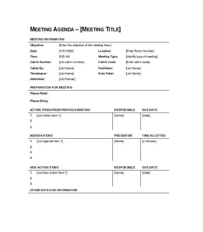 Simple Meeting Agenda Template Sample Featuring Preparations and ...