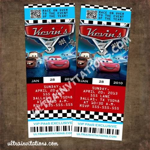 Cars Hot Wheel Ticket Invitations, Party Vip Pass
