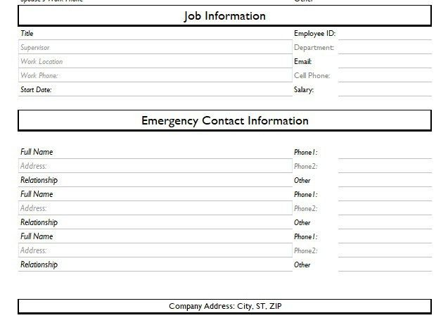 Record of Employee Information Form Format Word And Excel - Excel Tmp
