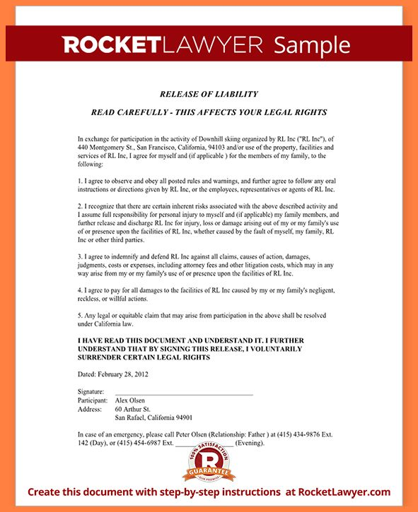 6+ release of liability agreement template | Purchase Agreement Group