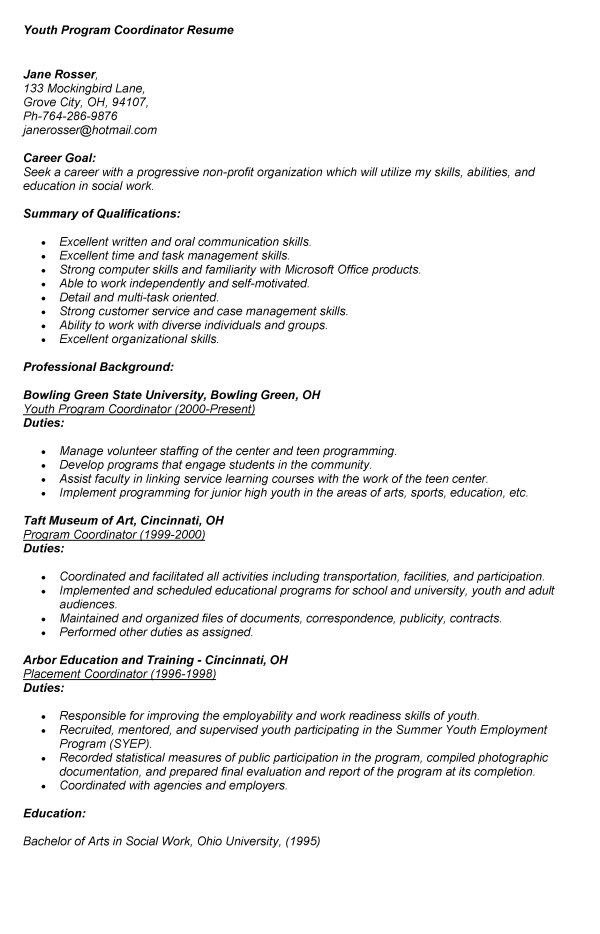sample youth program coordinator resume top 8 youth program