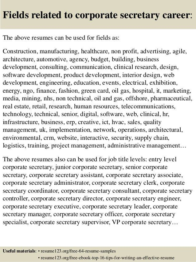 Top 8 corporate secretary resume samples