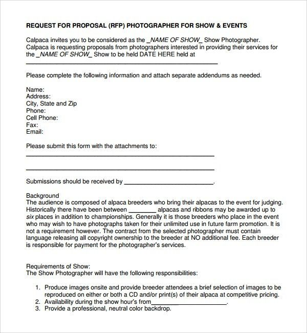 Sample Photography Proposal Template - 9+ Free Documents in PDF ...